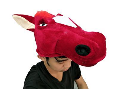 赤兔馬頭套 紅馬 汗血寶馬 大宛馬頭套