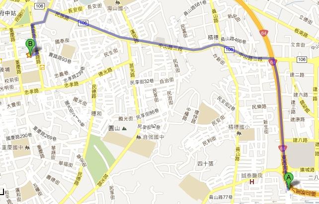 國道3號中和交流道中和出口直行至薪傳服裝路線圖