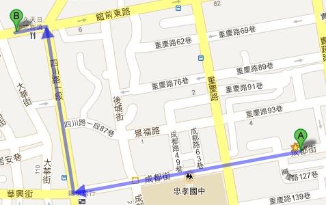 板橋錢櫃KTV變裝趴租借服裝取衣路線圖(A→B)