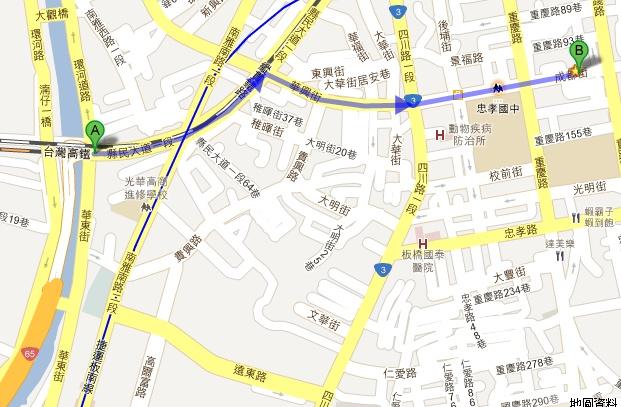 國道3號土城接65號到薪傳服裝路線圖(A→B)
