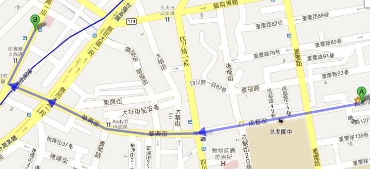 板橋好樂迪KTV板前店變裝趴租借服裝取衣路線圖(A→B)