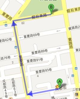 板橋好樂迪KTV板後店變裝生日派對取衣路線圖(A→B)