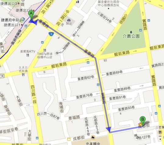 捷運府中站到薪傳路線圖(A→B)